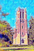 Lake Michigan Digital Art Metal Prints - Pastel Beaumont Tower 2 Metal Print by Paul Bartoszek