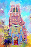 Lake Michigan Digital Art Metal Prints - Pastel Beaumont Tower Metal Print by Paul Bartoszek