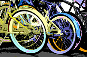 Juvenile Wall Decor Mixed Media Metal Prints - Pastel Bicycle Pop Art Metal Print by ArtyZen Studios