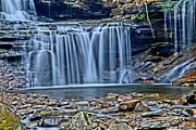 Pa State Parks Photos - Pastel Blue Falls by Adam Jewell