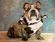 Dogs Pastels Framed Prints - Pastel English Brindle Bull Dog Framed Print by Patricia L Davidson