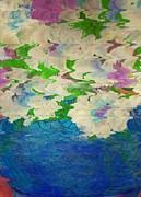 Pastel Flowers And Blue Vase Print by Anne-Elizabeth Whiteway