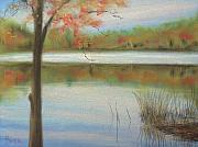 Lakescape Tapestries Textiles - Pastel Lake by Pete Maier