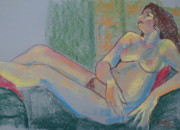 Female Nude Pastels Framed Prints - Pastel Nude Framed Print by Joanne Claxton