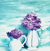 Pitcher Digital Art - Pastel Peonies by Marsha Heiken