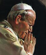Catholic Art Drawings Originals - Pastel Rendering Of Pope John Paul II by Mark Sanislo