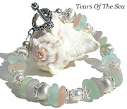 Crystals Jewelry - Pastel Sea Glass Bracelet by Tears Of The Sea - Sea Glass Jewelry
