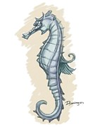 Moderno Digital Art Prints - Pastel Seahorse Print by Mario Domingues