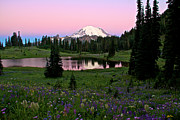 Pastel Skies Over Rainier Print by Marcus Angeline