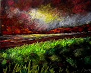 Original Art Pastels - Pastel Sunset by John  Nolan