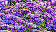 Purple Flowers Digital Art Metal Prints - Pastelated Florets Metal Print by Bill Tiepelman