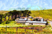 Backroad Digital Art Prints - Pastoral Cattle Ranch Landscape  . 7D16047 Print by Wingsdomain Art and Photography