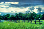 Cattle Ranch Prints - Pastoral Greenery Print by Lourry Legarde