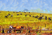 Barns Digital Art Acrylic Prints - Pastoral Landscape Painterly . 7D15962 Acrylic Print by Wingsdomain Art and Photography