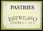 Vintage Diner Framed Prints - Pastries Coffee Sign Framed Print by AdSpice Studios