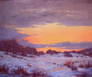 Snowscape Paintings - Pasture at Twilight by Susan Hope Fogel