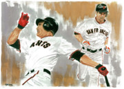 San Francisco Giants Painting Framed Prints - Pat Burrell Study 1 Framed Print by George  Brooks