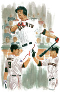 San Francisco Giants Painting Framed Prints - Pat Burrell Study 2 Framed Print by George  Brooks