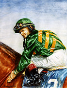 Jockey Paintings - Pat Day -  Silks of Lanes End Farm by Thomas Allen Pauly