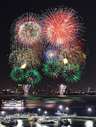Stock Photo Digital Art Prints - Pataya city firework festival Print by Anek Suwannaphoom