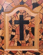 Jesus Pyrography Prints - Patchwork and Cross Print by Lisa Brandel