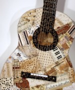 Music Tapestries - Textiles Prints - Patchwork Blues Print by Loretta Alvarado