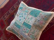 Cushion Tapestries - Textiles Originals - Patchwork Cushion Cover by Dinesh Rathi