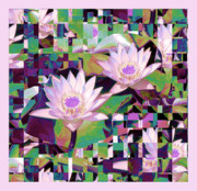 Lilly Pads Framed Prints - Patchwork Quilt Framed Print by Karen Lewis
