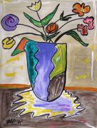 Visionary Artist Drawings Prints - Patchwork Vase Print by Mary Carol Williams