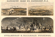19th Century America Prints - Paterson Iron Company Print by Granger