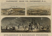 New Jersey History Framed Prints - Paterson Iron Company In New Jersey Framed Print by Everett