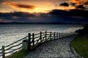 Evening Scenes Posters - Path Along The Water, Holy Island Poster by John Short