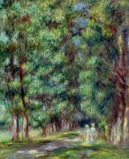 Path Painting Framed Prints - Path in a Wood Framed Print by Pierre Auguste Renoir