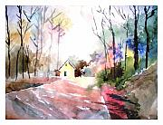 Watercolor Digital Art Originals - Path in colors by Anil Nene