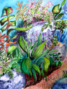 Frog Mixed Media Originals - Path in the Conservatory by Helen Kern