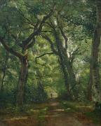 Path Painting Framed Prints - Path in the Forest Framed Print by Henri Joseph Constant Dutilleux
