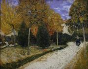 Post-impressionism Framed Prints - Path in the Park at Arles Framed Print by Vincent Van Gogh
