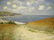 Sailboat Ocean Framed Prints - Path in the Wheat at Pourville Framed Print by Claude Monet