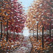 Artist Christine Krainock Prints - Path through the Autumn Trees Print by Christine Krainock