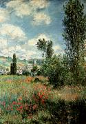 Church Prints - Path through the Poppies Print by Claude Monet