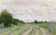 Chimneys Painting Posters - Path through the Vines at Argenteuil Poster by Claude Monet
