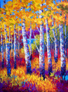 Aspen Trees Paintings - Path to the Lake by Marion Rose