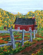 Red School House Painting Framed Prints - Path to the Red School House Framed Print by Jack G  Brauer