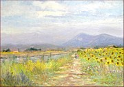 Italian Landscapes Paintings - Path with sunflowers by Biagio Chiesi