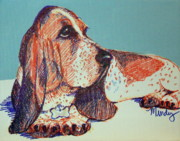 Paws Painting Originals - Patient Basset Hound by Melinda Page