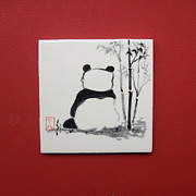 Japanese Ceramics Posters - Patient Panda Poster by Neil Walker