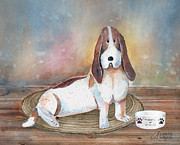 Dogs Mixed Media - Patiently Waiting by Arline Wagner