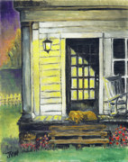 Front Porch Painting Framed Prints - Patiently Waiting Framed Print by Judith Whittaker