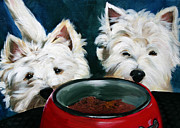 Westie Art - Patiently Waiting by Mary Sparrow Smith