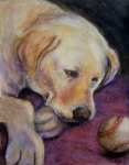 Baseball Pastels Posters - Patiently Waiting Poster by Susan Jenkins